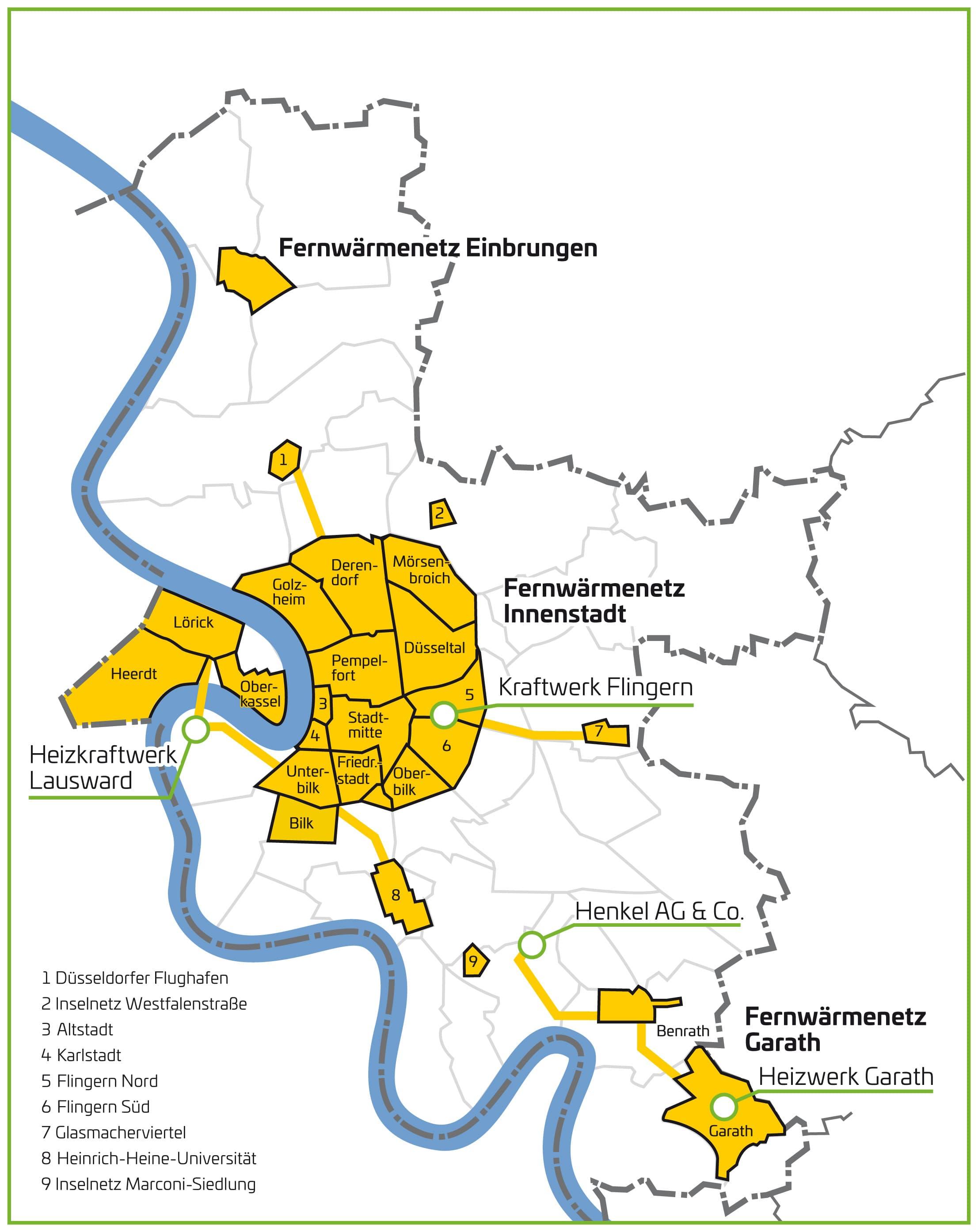 Düsseldorf Stadtteile Karte.Fernwärme In Düsseldorf Stadtwerke Düsseldorf